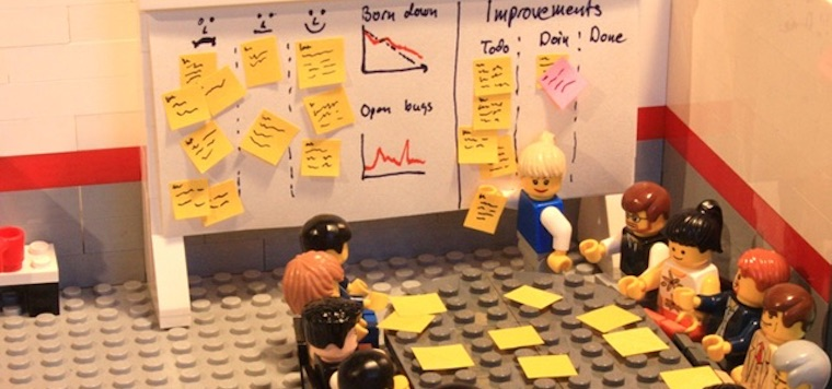 Agile retrospective with lego figures